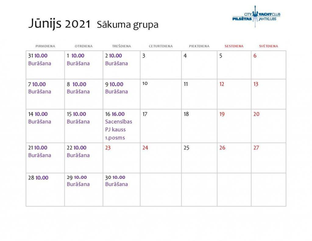 treniņu plāns bērnu burāšanas skola jūnijs 2020
